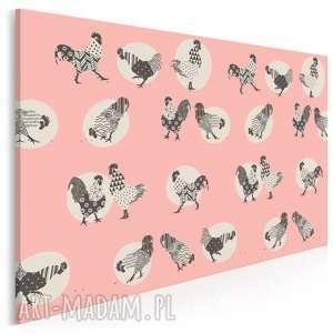 obraz na płótnie - koguty różowy 120x80 cm 68002, kogut, koguty, folklor