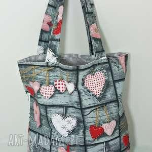 torba na zakupy ekologiczna shopperka retro serca, torba