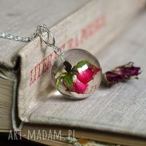 naszyjniki naszyjnik z żywicy różą, srebrny łańcuszek, żywica, natura, róża