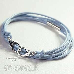 kajdanki błękit, skóra, naturalna, rzemień, posrebrzane, metal