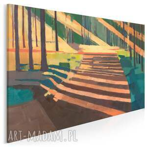 obraz na płótnie - las abstrakcja drzewa cień 120x80 cm 703801, las, natura