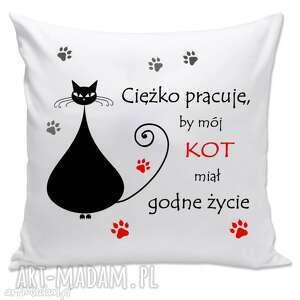 poduszki poduszka - ciężko pracuję, by mój kot , prezent, kot, kociarz, poduszka