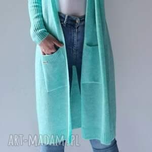 kardigan,sweter oversize z kieszeniami, długi sweter, kardigan, rozpinany