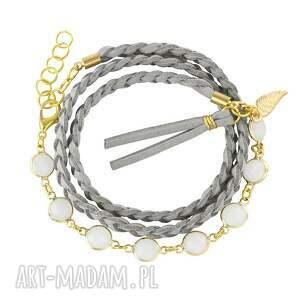 boho chic - grey gold , rzemień, warkocz, boho, kryształek