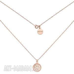 naszyjnik z różowego złota z medalionem - łańcuszek