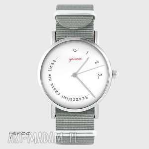 ręcznie robione zegarki zegarek - szczęśliwi czasu nie liczą szary