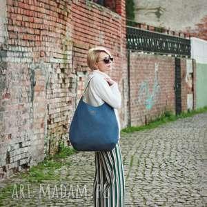 torba worek niebiesko-szary melanż, na ramie, shoperbag, duza