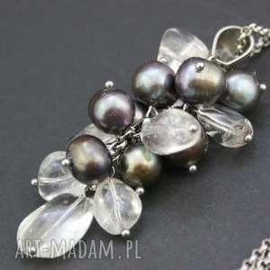 naszyjnik wisior kryształ górski i perły naturalne, naszyjnik, wisior