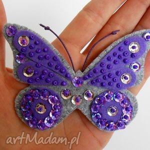 motyl - broszka - filc, motyl, owad, broszka, błyszczący, prezent