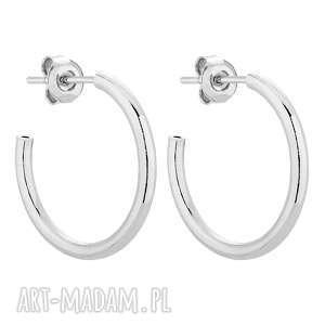 srebrne półokrągłe kolczyki xl - kółka obręcz