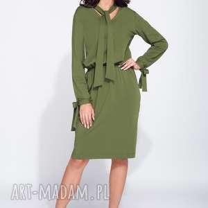 Sukienka dzienna z wiązaniem pod szyją, dzienna, casual, długi-rękaw, ciepła