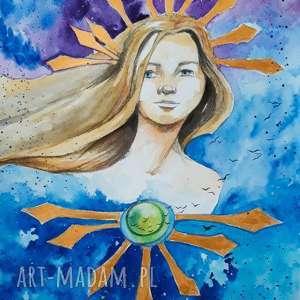 przebudzenie gwiazdy akwarela artystki adriany laube - kobieta, portret