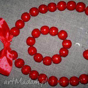 czerwone korale góralskie - komplet, korale, bransoletka, kolczyki, góralskie, folk
