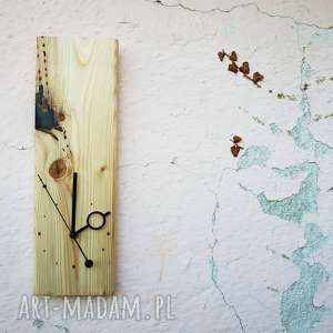 Zegar ścienny drewno łączone z żywicą, drewno, żywica, recykling, eko, skandynawski