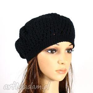 czapki beret szydełkowy czarny, beret, czapka, retro, szydełkowy, dziergany