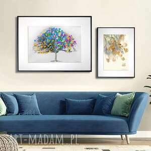 grafika w ramie z passe-partout kolorowe liście na drzewie pozioma 40x30