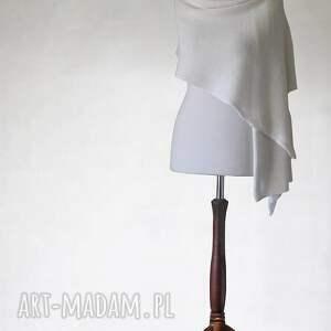 biały ślubny szal z merino - szal, szalik, merino, ślub, handmade, akcesoria