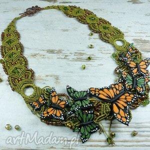 Unikatowy naszyjnik z motylami, naszyjnik, kolia, motyle, makrama, koraliki