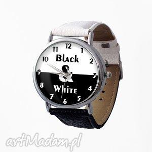 zegarki black white - skórzany zegarek z dużą tarczą, zegarek, skórzany, dwukolorowy