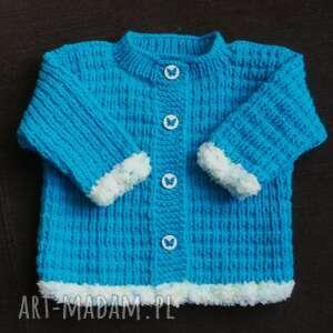 turkusowe wdzianko, sweterek, niemowlę, rękodzieło, włóczka