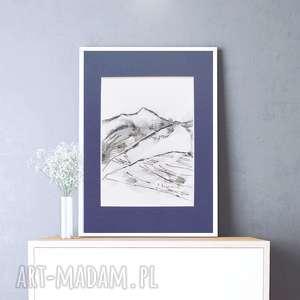 rysunek pejzaż górski,biało czarny obraz, ładny widok gór,grafika