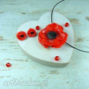 Komplet biżuterii czerwone maki, komplet, sztyfty, zawieszka, wisior, kwiaty