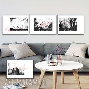 kwartet nostalgiczny komplet ilustracji, grafika, pejzaż, salon, krajobraz