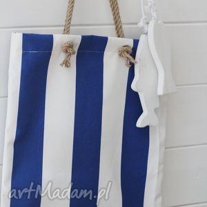 Letnia torba, paski, plażowa, marynistyczna, torebka, damska