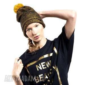 czapka beanie pompon beret gold, czapka, beret, złote, pompon, miodowe, zółty