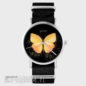 Prezent Zegarek, bransoletka - Żółty motyl czarny, nato, zegarek, bransoletka, nato