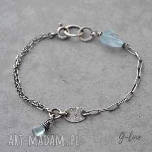 handmade bransoletki akwamaryn. delikatna surowa, srebrna bransoletka