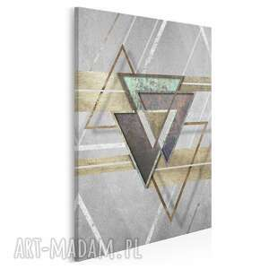 obraz na płótnie - loftowy kształty trójkąty w pionie 50x70 cm 95203, loft