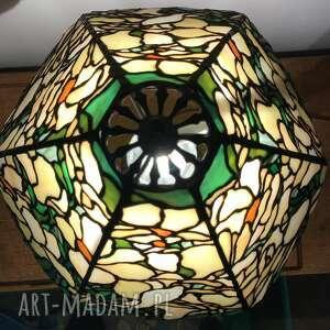 lampa witrażowa magnolie, styl tiffany, witrażowa, witraż dekoracja