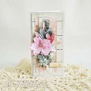 Kartka ślubna - szary/róż, kartka-ślubna, młodej-parze, kwiaty, scrapbooking
