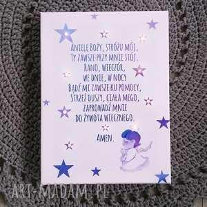 pokoik dziecka świecąca obraz modlitwa anioł dziewczynka gwiazdy prezent