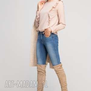 Bluzka z pionowymi falbanami, BLU136 beż, casual, elegancka, falbanki, oryginalna