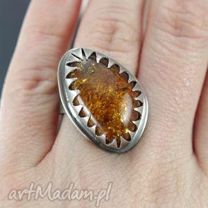Bursztyn w srebrze - pierścionek , bursztyn, srebro, pierścionek, regulowany