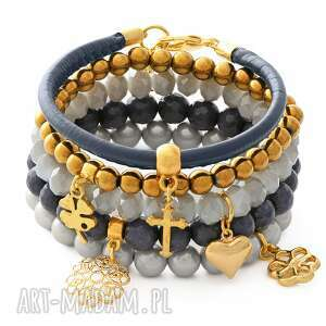 hand-made bransoletki navy blue, gold & gray set.