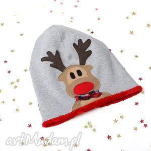 czapka beanie zimowa rudolf, ciepła, zimowa, świąteczna dla dziecka, prezent