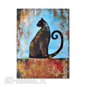 Prezent Kot At., obraz ręcznie malowany, kot, obraz, dekoracja, ręcznie, malowany