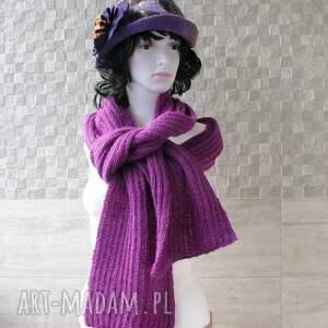 szal fioletowo - purpurowy - szal, zima, długi, delikatny, moda, dodatek