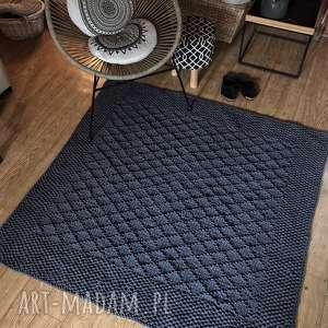 dywan ręcznie dziergany z grubego sznurka diamond 150x150cm