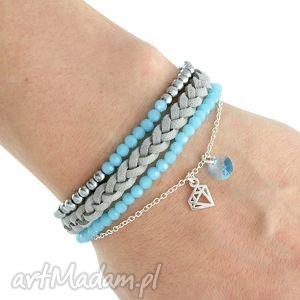 gentleness triplo - light blue, silver grey , swarovski, rzemień, zamsz, diament