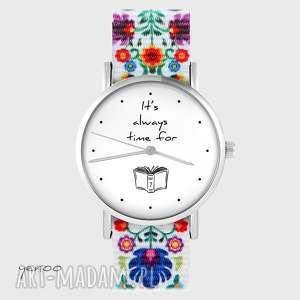 zegarek - time for book folk biały, nato, zegarek, pasek, folkowy, książka