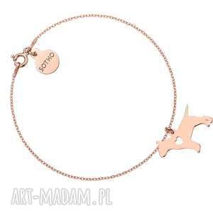 bransoletki bransoletka z różowego złota psem rasy bulterier, bransoletka, pies