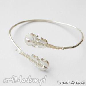 Bransoletka srebrna - Skrzypce białe, bizuteria, srebro, bransoletki