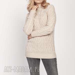 swetry sweter z półgolfem, swe211 beż mkm, sweter, półgolf, jesień, elegancki
