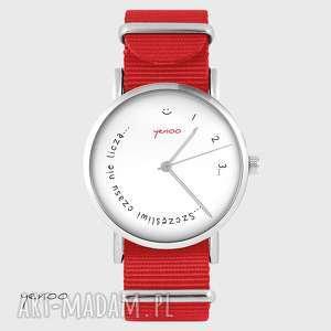 zegarek - szczęśliwi czasu nie liczą czerwony, nato, zegarek, bransoletka