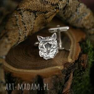 ręczne wykonanie spinki do mankietów miauczące kotki, srebrne