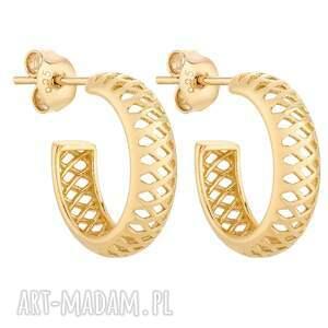 złote ażurowe kolczyki - półkola, kółka
